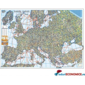 Europa-Harta rutiera cu relief