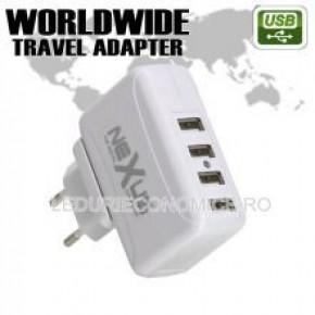Adaptor universal pentru calatorii cu soclu 4 USB