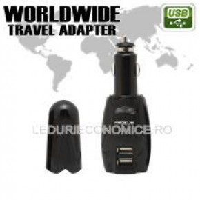 Adaptor de calatorie universala cu soclu 2 x USB 4 x fisa