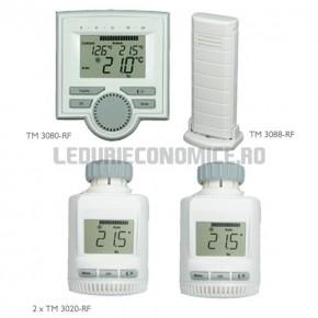 Set: Centru clima + 2 termostate + senzor de temperatura radiocontrolat - TM 3420-RF