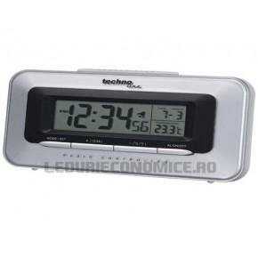 Ceas digital de birou cu rama argintie si afisare faze ale lunii - WT 180
