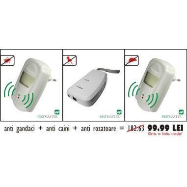 Pestmaster AG230 Aparat cu unde electromagnetice anti gandaci, anti rozatoare + Aparat ultrasunete anti caini